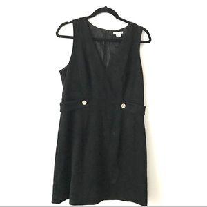 H&M Black Mini V-Neck Faux Suede Dress - size 12 US